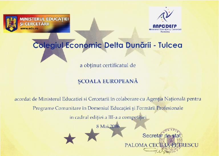 Certificat Scoala Europeana 2006