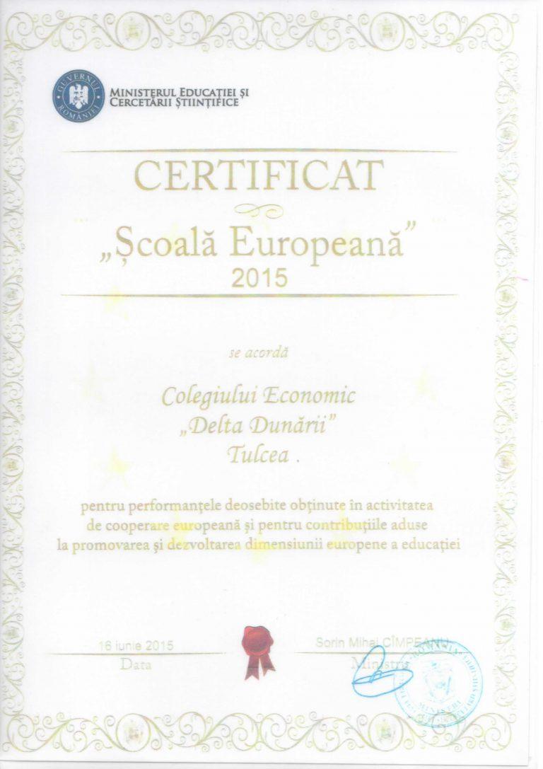 Certificat Scoala Europeana 2015-1