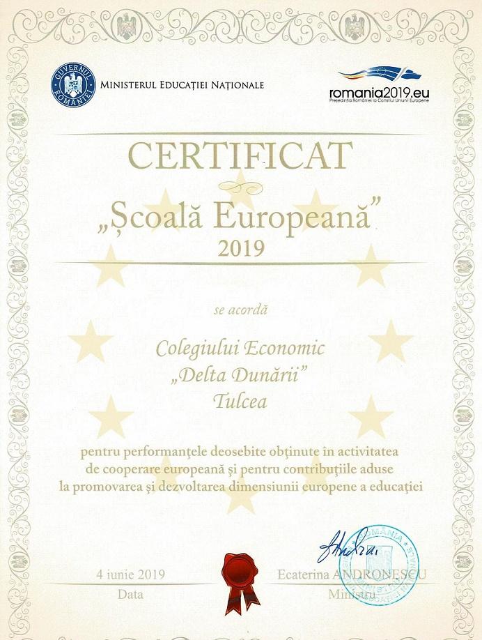 certificat SCOALA EUROPEANA 2019